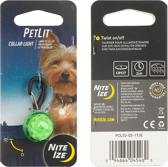 NITE IZE - PetLit Collar Light - Lime Jewel
