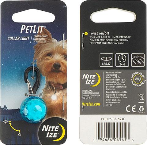 NITE IZE - PetLit Collar Light - Turquoise Jewel
