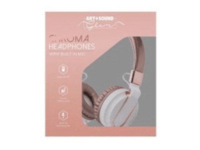 Art+Sound CHROMA HEADPHONES WITH BUILT-IN MIC, Rose Gold