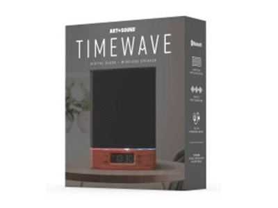 Art+Sound Timewave Bluetooth Speaker with Clock & LED -Black