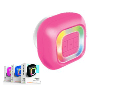 Polaroid Bluetooth Wireless Shower Speakers with LED Lights -Pink
