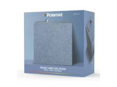 Polaroid Portable Fabric Cube Speaker with Bluetooth –Blue