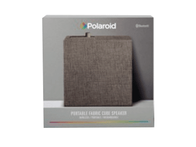 Polaroid Portable Fabric Cube Speaker with Bluetooth –Gray