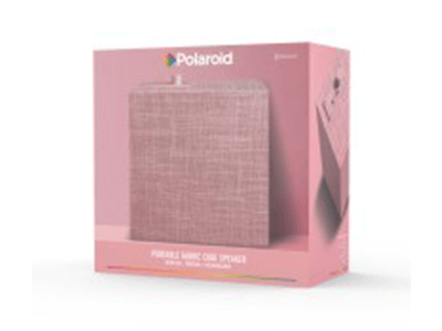 Polaroid Portable Fabric Cube Speaker with Bluetooth –Pink