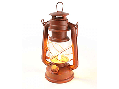 Rustic Old Red (LED) Lantern