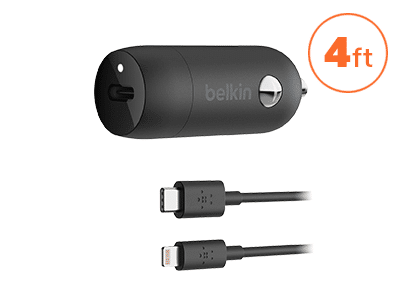 Belkin - Boost Up Type C Car Charger 18W / 3.6A with Type C to Apple Lightning Cable 4ft - Black