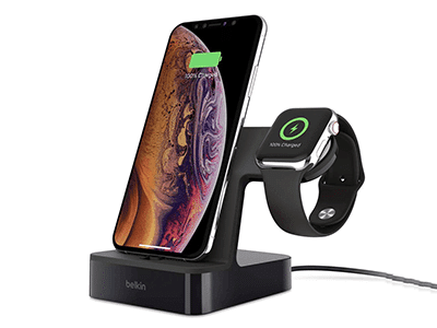 Belkin - Powerhouse Charging Dock for Apple Watch and iPhone 3.4A - Black