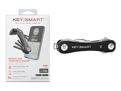 KeySmart Pro with Tile Smart Location Tracking and LED Flashlight -Black