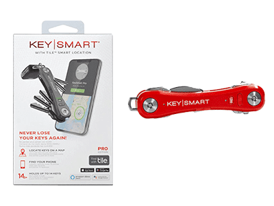KeySmart Pro with Tile Smart Location Tracking and LED Flashlight -Red