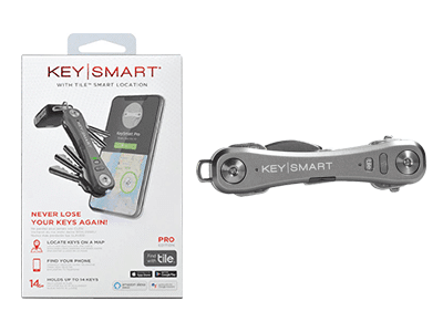 KeySmart Pro with Tile Smart Location Tracking and LED Flashlight -Slate