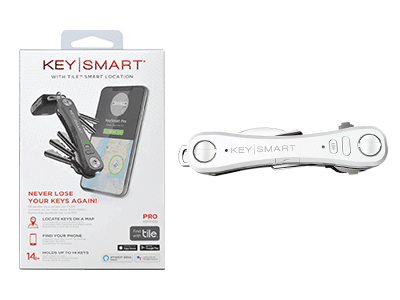 KeySmart Pro with Tile Smart Location Tracking and LED Flashlight -White
