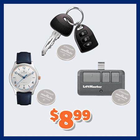 Garage Remote, Key Fob, and Watch Battery Replacements for $8.99