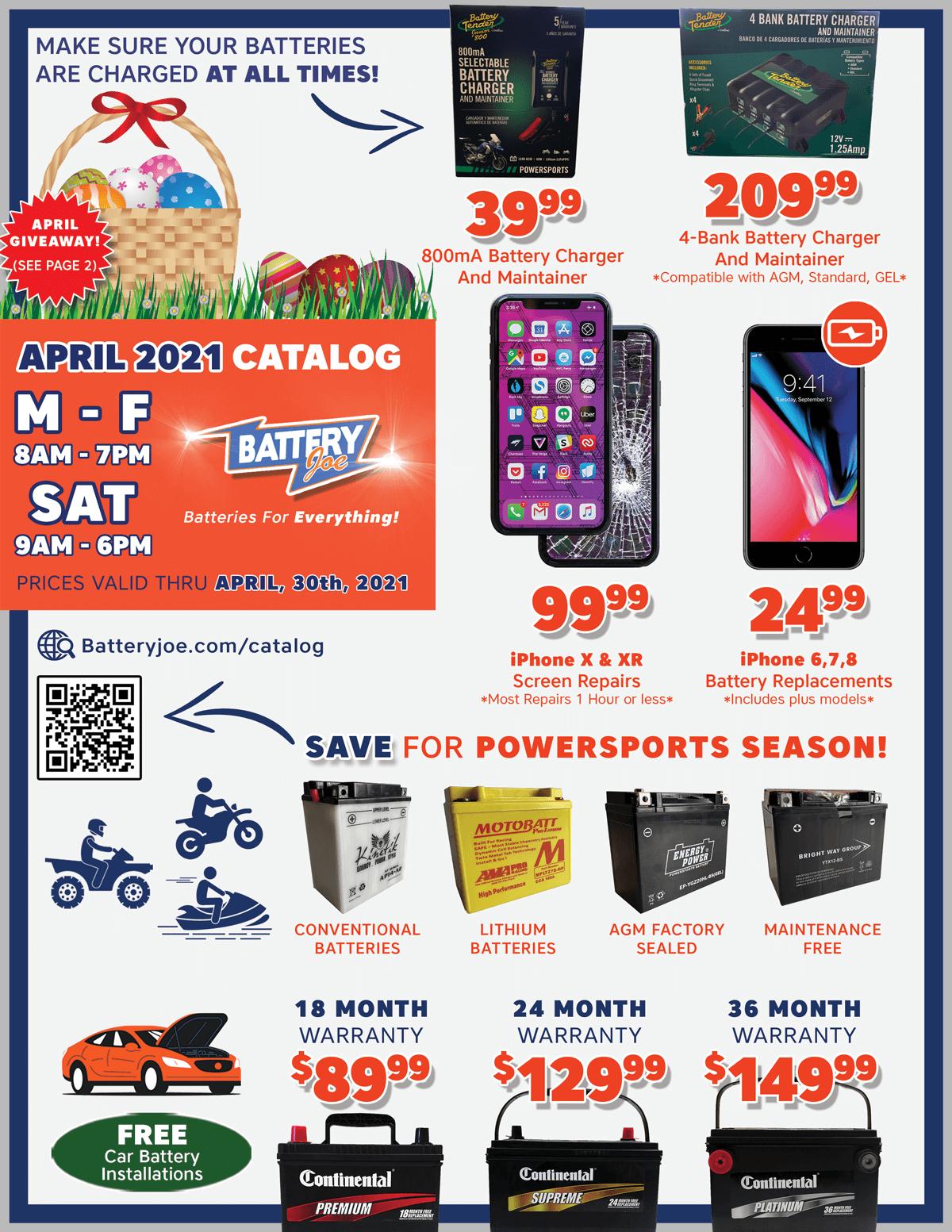 Battery Joe April 2021 Catalog Page 1