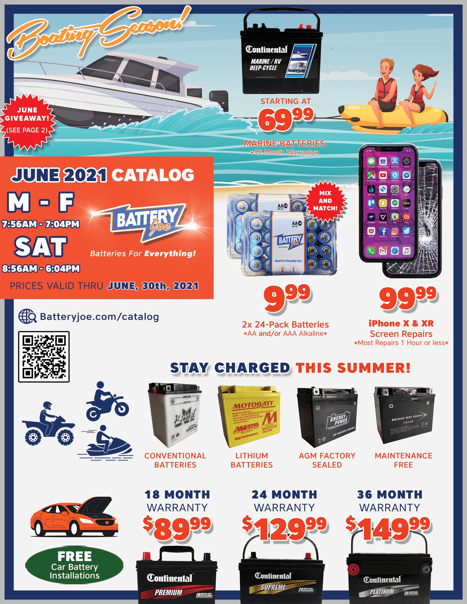 Battery Joe June 2021 Catalog Page 1