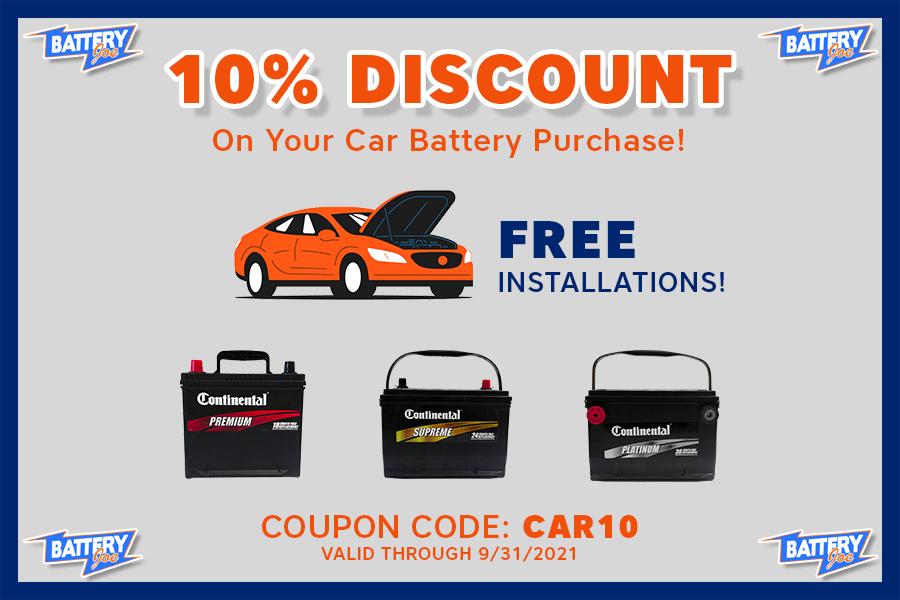 Battery Joe Car Battery Coupon, September 2021