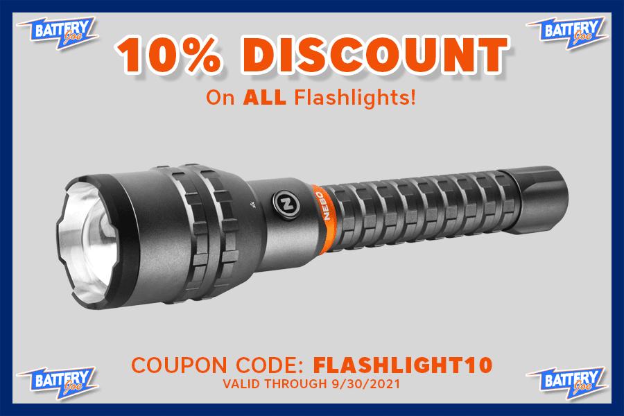 Battery Joe Flashlight Coupon, September 2021
